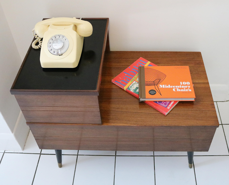Mid century teak rosewood telephone side table seat
