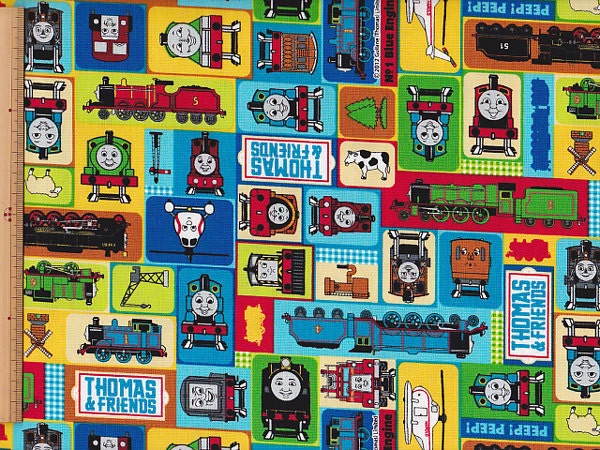 Items similar to thomas the train one yard fabric on etsy for Train fabric by the yard