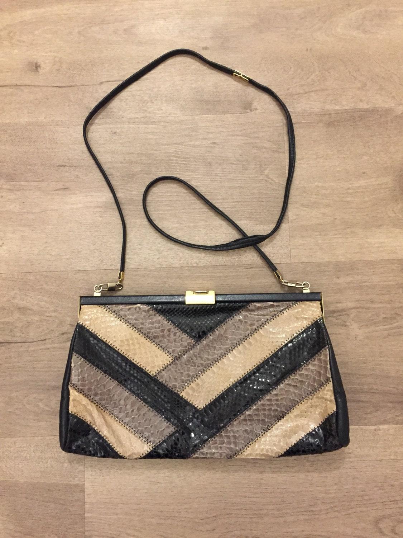 Jane Shilton Vintage Snake Skin and Leather Bag