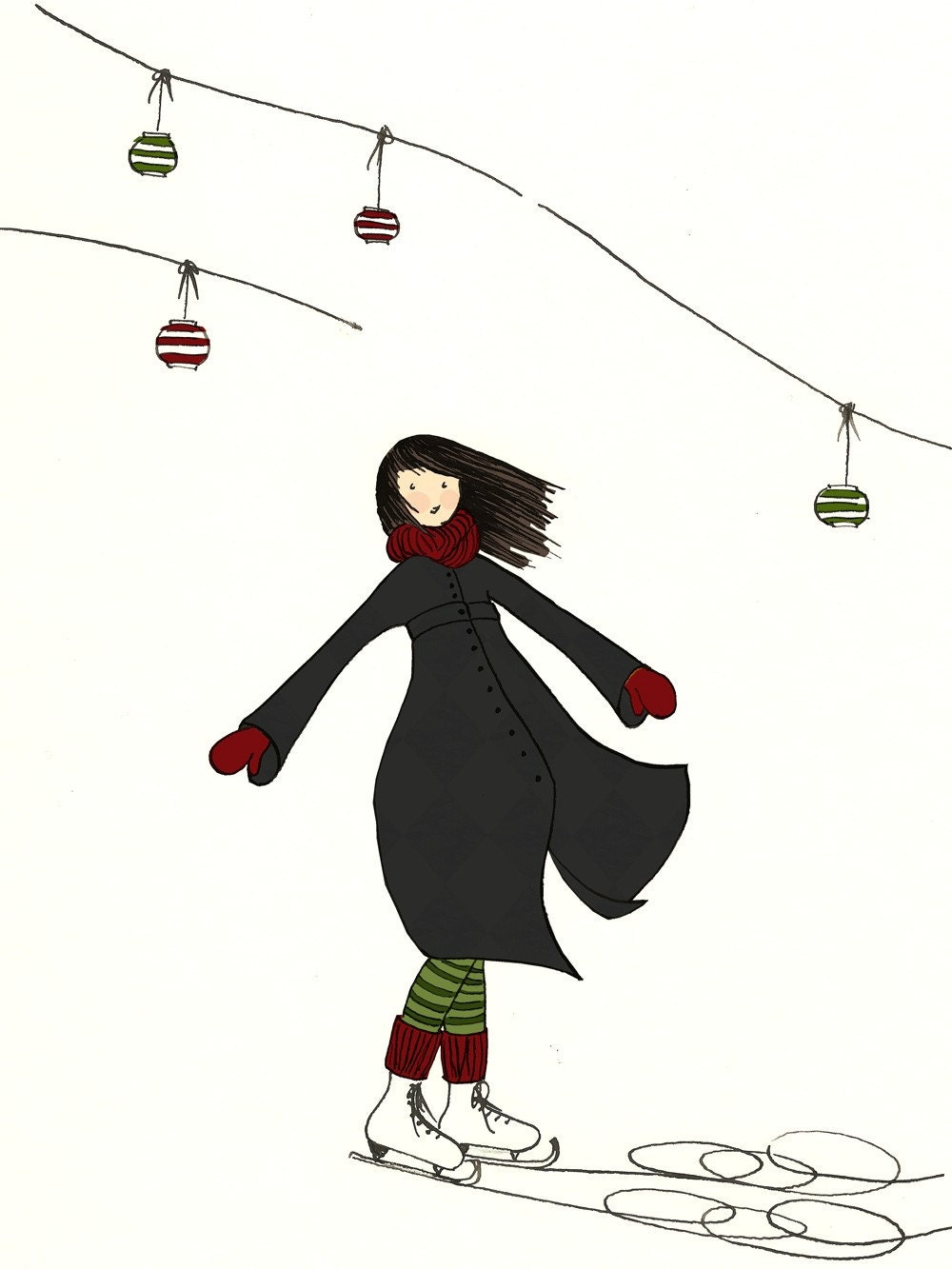 Ice Skating Girl Dancing in Winter Landscape - Signed Art Print - Wall hanging Home decor in white, blue, green and red colors