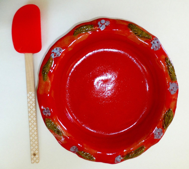 Handmade Ceramic Deep Dish Pie Pan Red By Wildcrowfarmpottery