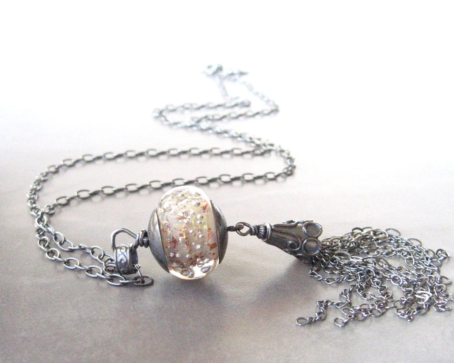 long boho pendant necklace with silver and lampwork glass - theBeadAerie