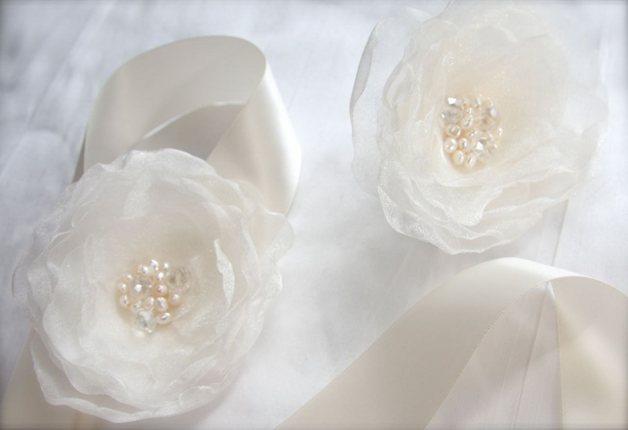 Floral Bridal Sash and Hair Flower set 2 flowers Pearls