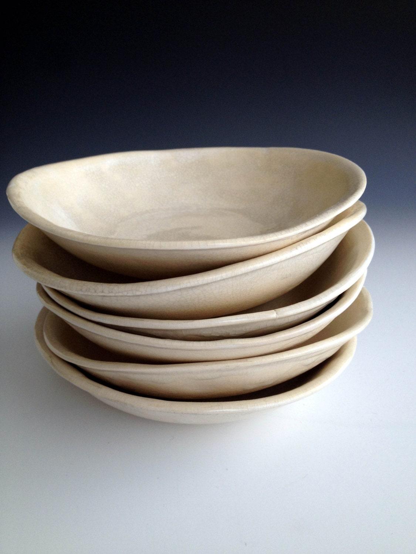 Handmade organic white crackle dessert bowl set by Leslie Freeman - Lesliefreemandesigns