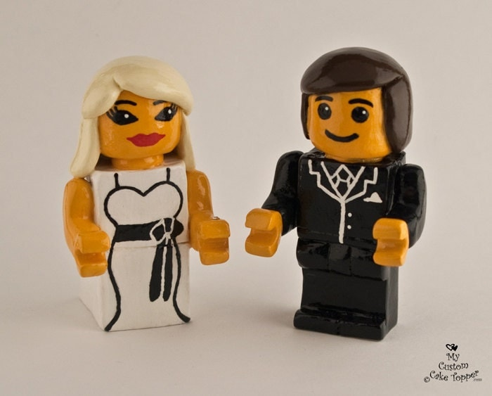 Lego Inspired Bride and Groom Wedding Cake Topper