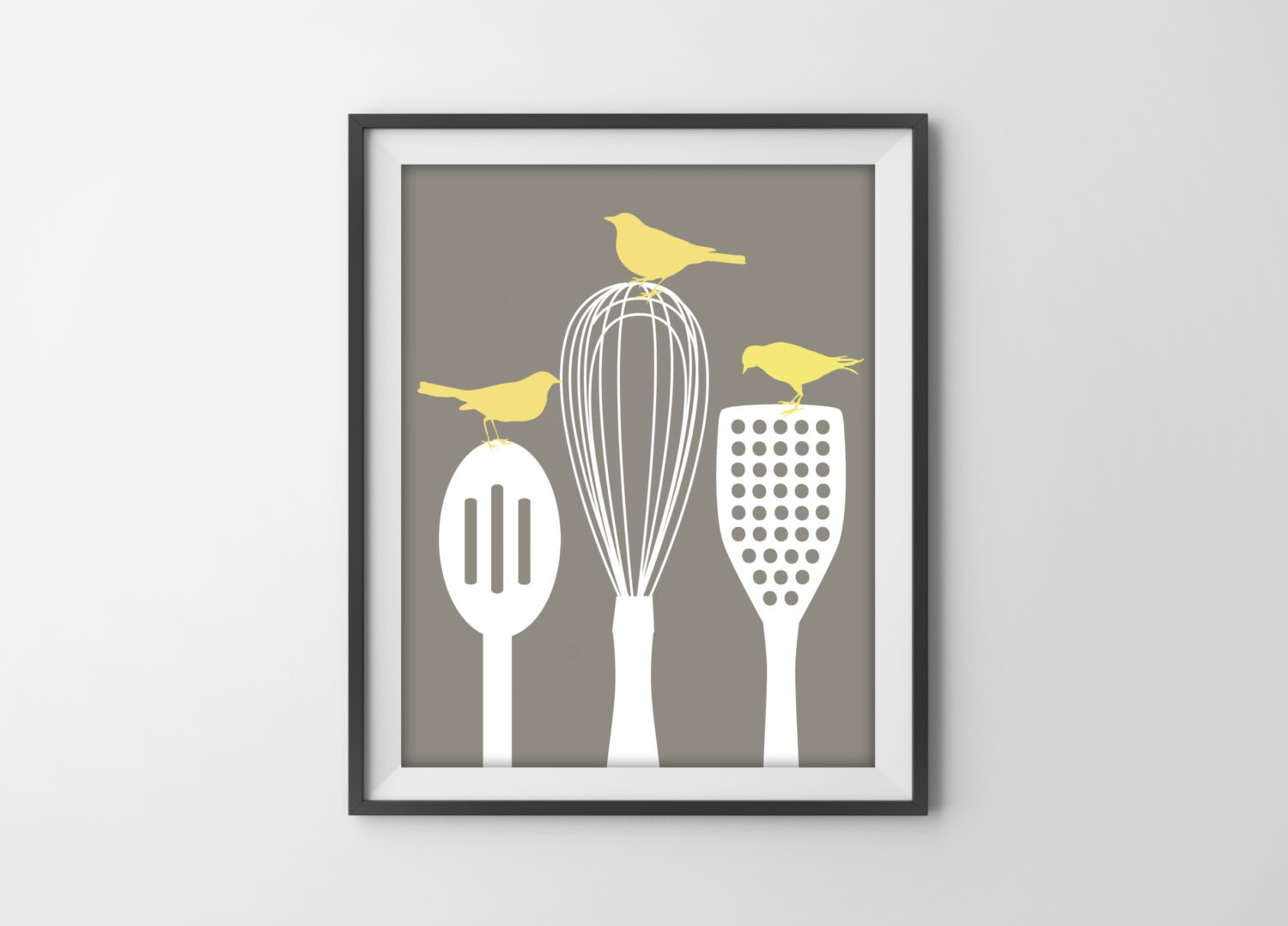 Birds on kitchen utensils art print modern kitchen by for Modern kitchen utensil