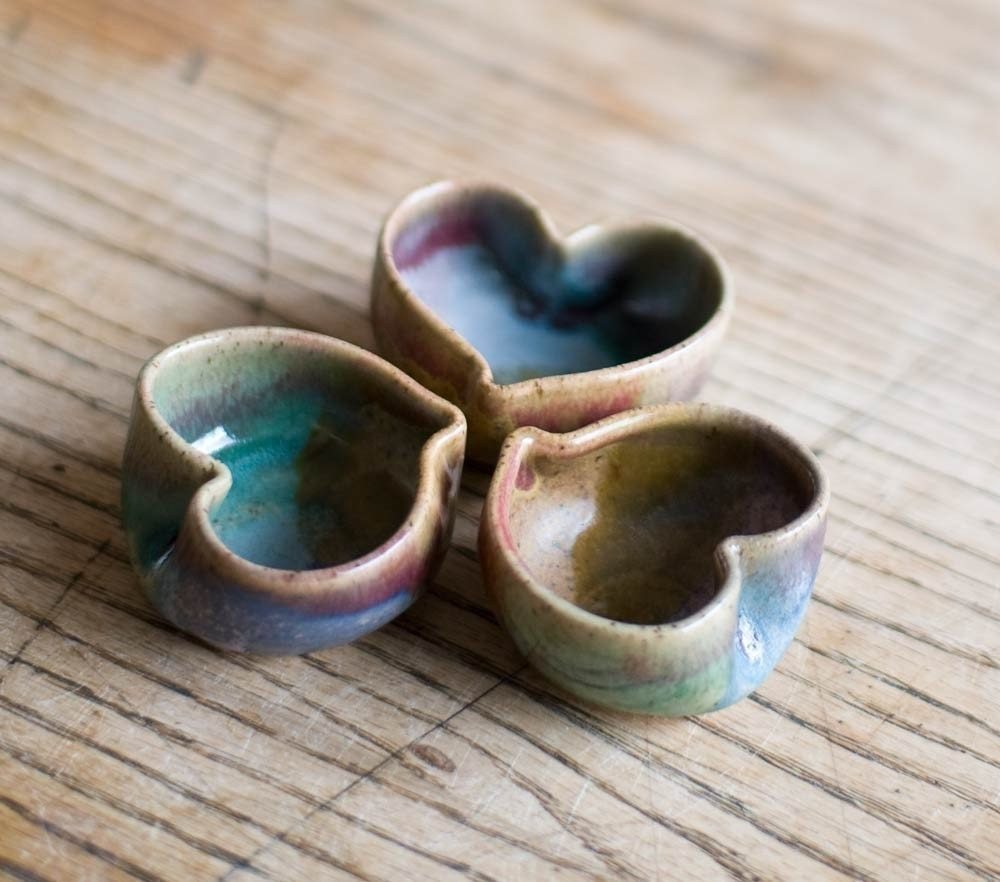 Heart bowls, set of three tiny heart bowls