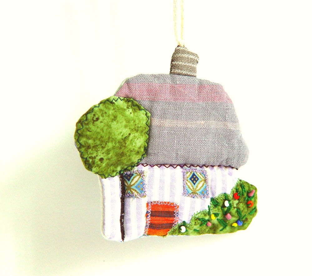 House Ornament, Holiday Stocking, Home Decor, First House Gift, white green - BozenaWojtaszek