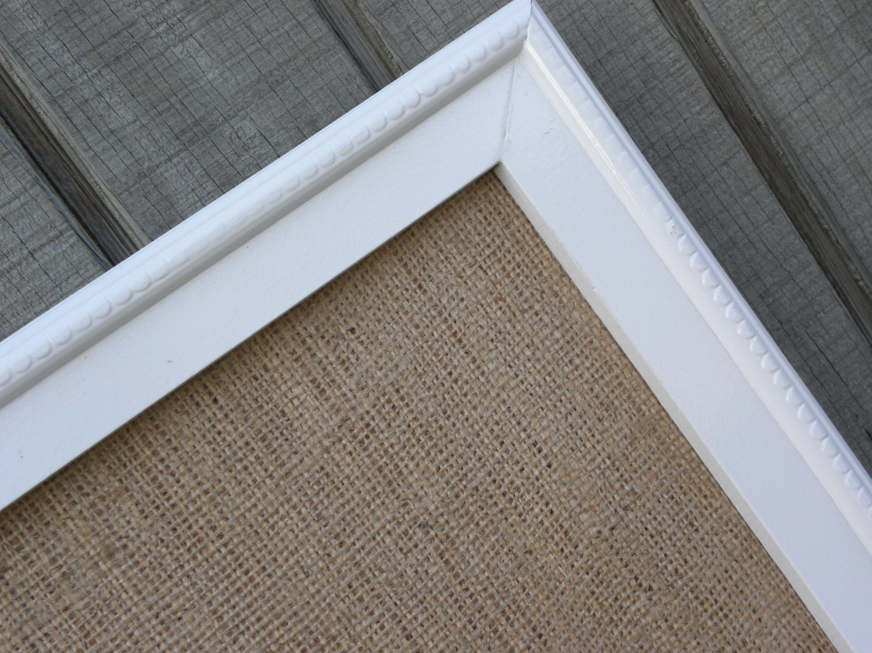 Burlap Cork Board Large White Framed Cork Board By Myperch