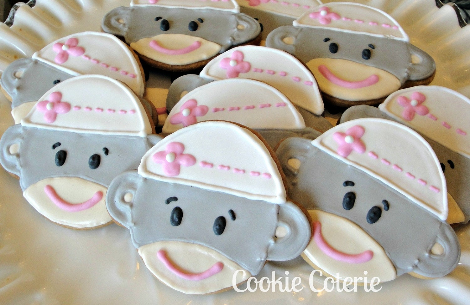 Sock Monkey Decorated Cookies Birthday Party Baby Shower Cookie Favors One Dozen