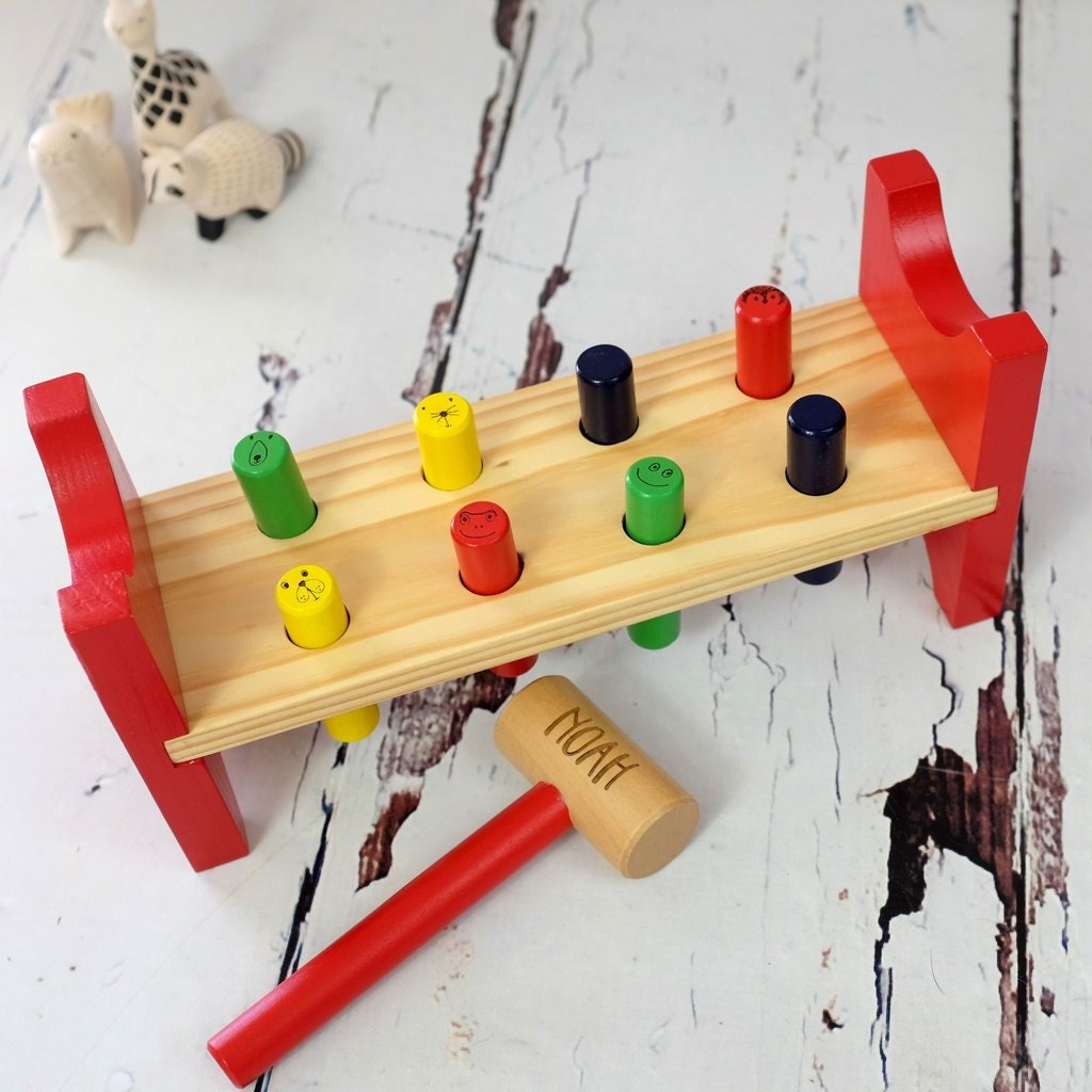 Personalised Wooden Punch Peg Toy  Personalized Childrens Toy  Toddler Gifts  Wooden Toy