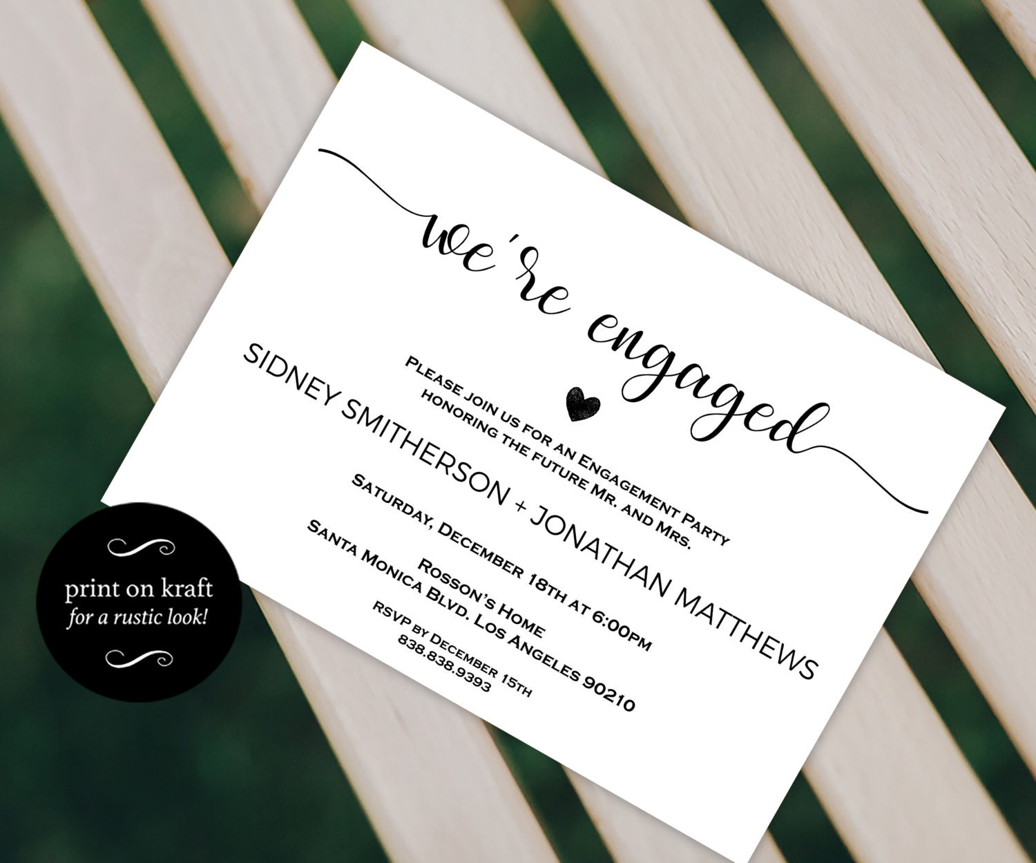 Engagement Party Invitation  Were Engaged  Wedding Printable  Engagement Announcement  Engagement Invite Downloadable Wedding WDH0228