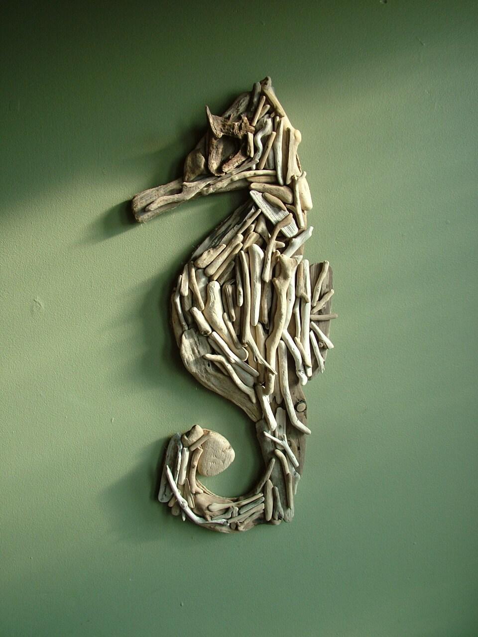 Wall Decor Etsy : Items similar to natural driftwood seahorse large wall