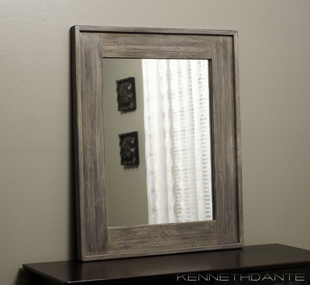 Modern Rustic Mirror Distressed Wood Home Decor by