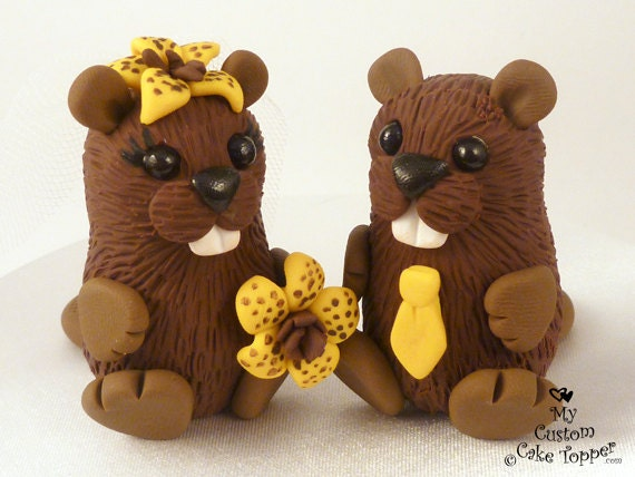 Cute Beavers Wedding Cake Topper