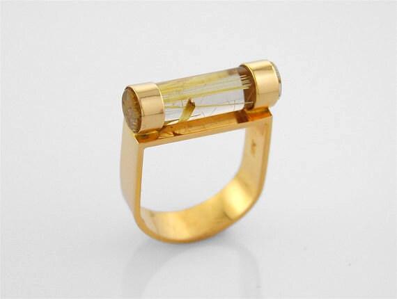 "Rutilated Quartz 14K Gold Ring ""Fuse"" Design - sasajewelry"