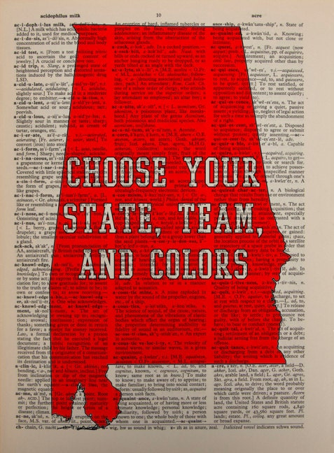 Alabama crimson tide dictionary art print by lexiconograph for Alabama football wall mural