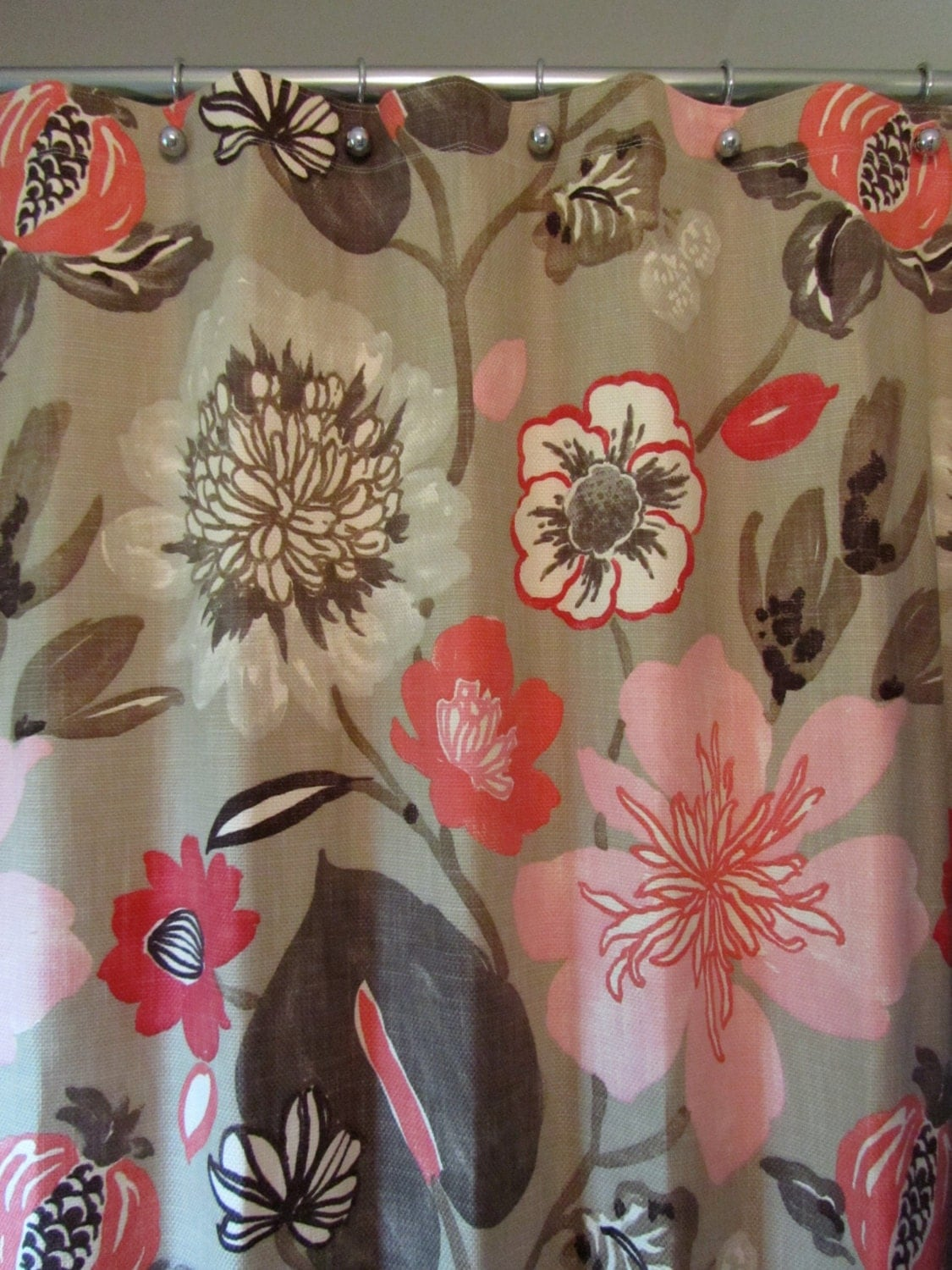 Pink salmon taupe shower curtain for your mid century modern home