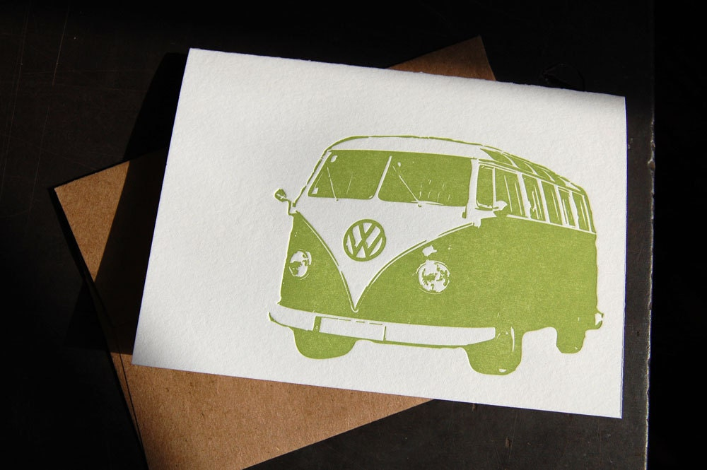 VW Bus, letterpress cards, set of 6