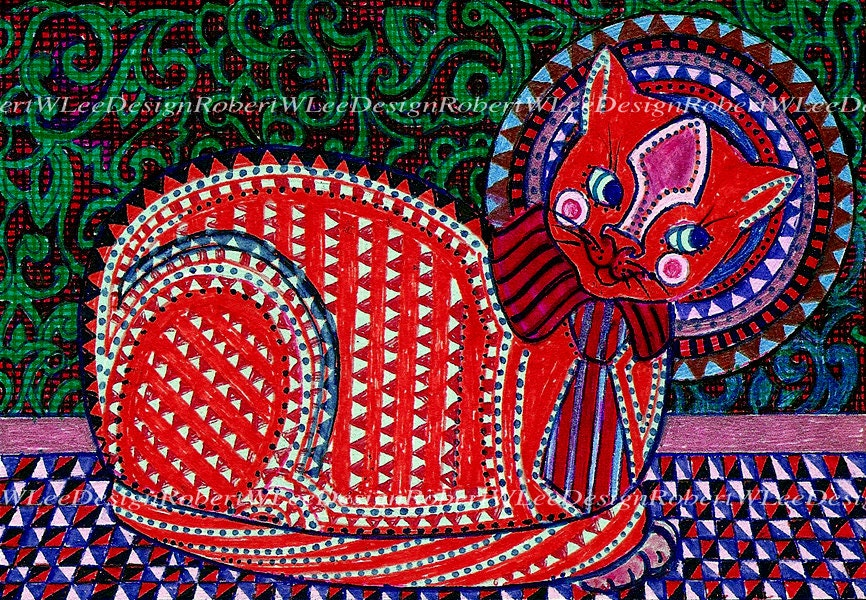 Red Cat in a Striped Tie Print - RobertWLee