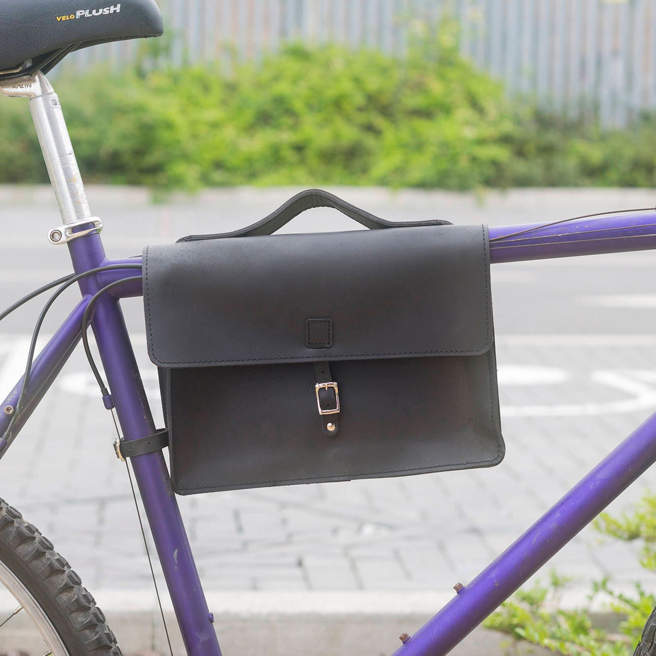 Bicycle Frame Satchel Bag Handcrafted Natural Leather BLACK 11.8x8.1x2.2