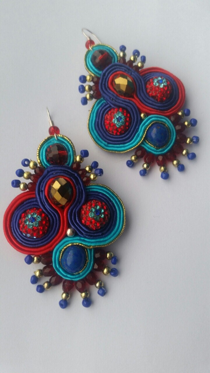 Soutache Earrings Upcycled Hand Embroidered Soutache Earrings Hand Embroidered Earrings Soutache MultiColoured Earrings