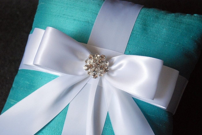 Wedding Ring Pillow - Tiffany Blue Ring Bearer Pillow with White Bow and Rhinestones - Helen