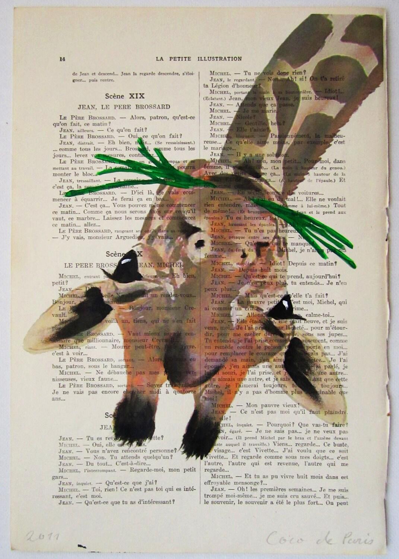 """Жираф едят траву, оригинальные произведения искусства ручной росписью Смещаная 'La Petit Иллюстрация """"1920 Parisien Magazine"""