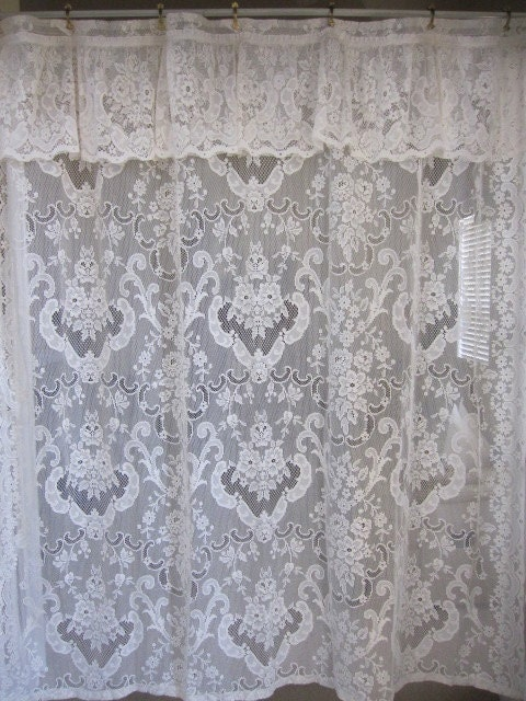 shower curtain off white lace shower curtain with attached valance