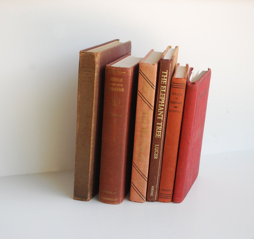 Rust Vintage Books- Back to school-Collection-Library- Six Books- Antique Hardback books- Red Orange Autumn display - cabinwindows