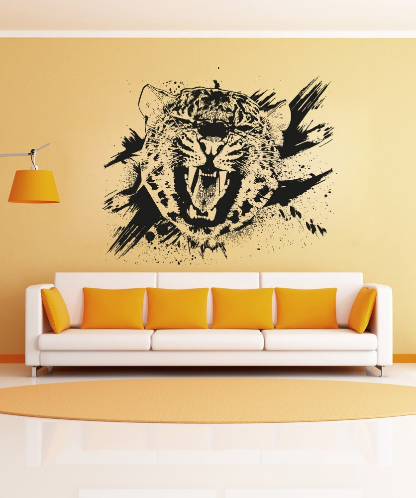 Vinyl Wall Decal Sticker Leopard Growl Grunge OSAA653s