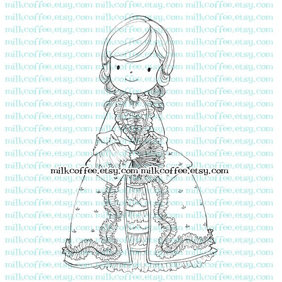 Digital Stamp Luna in 18th century dress