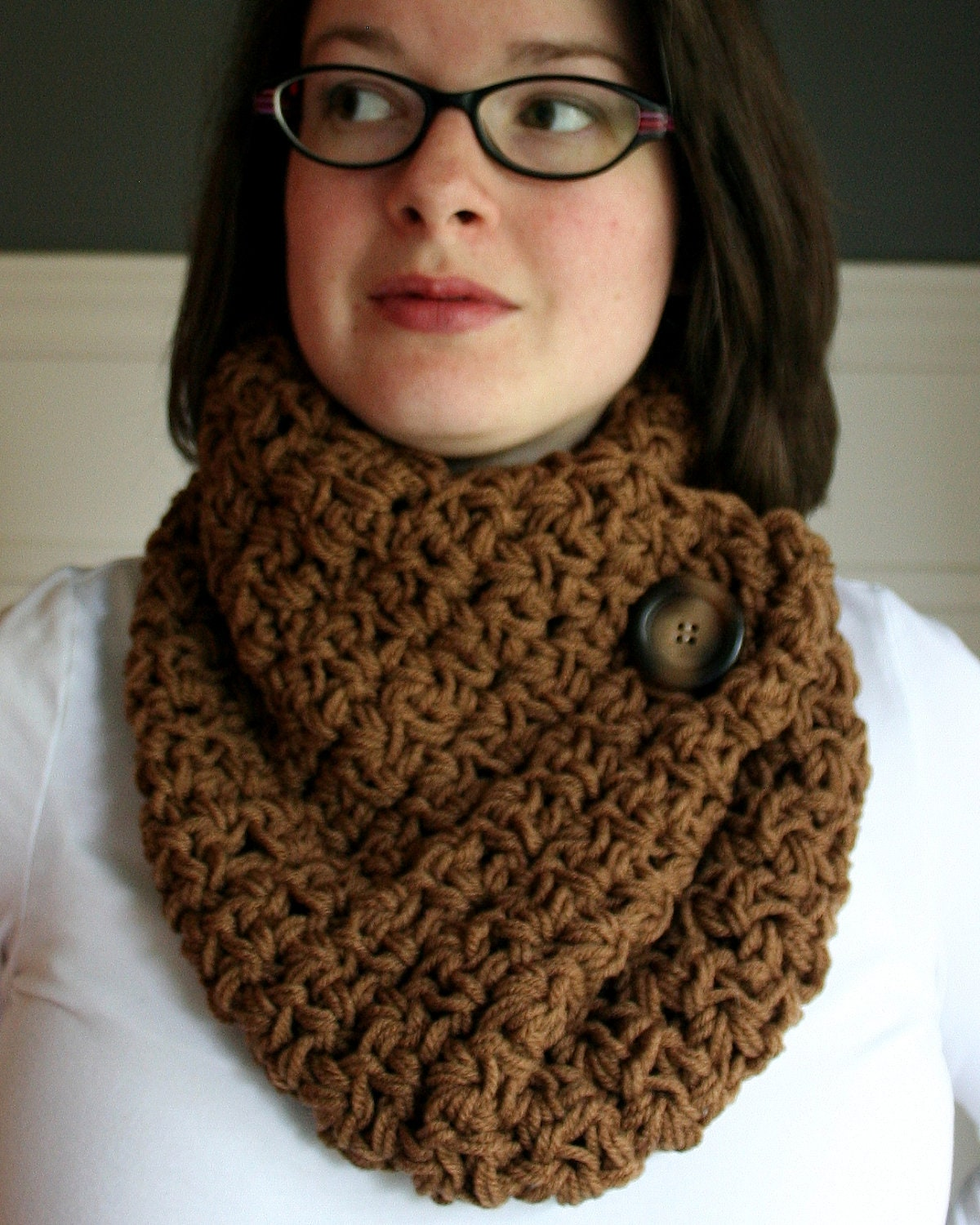 Crocheted Cowl Neck Scarf in Mocha Brown with brown and tan button Cowl Neck Scarves Crochet