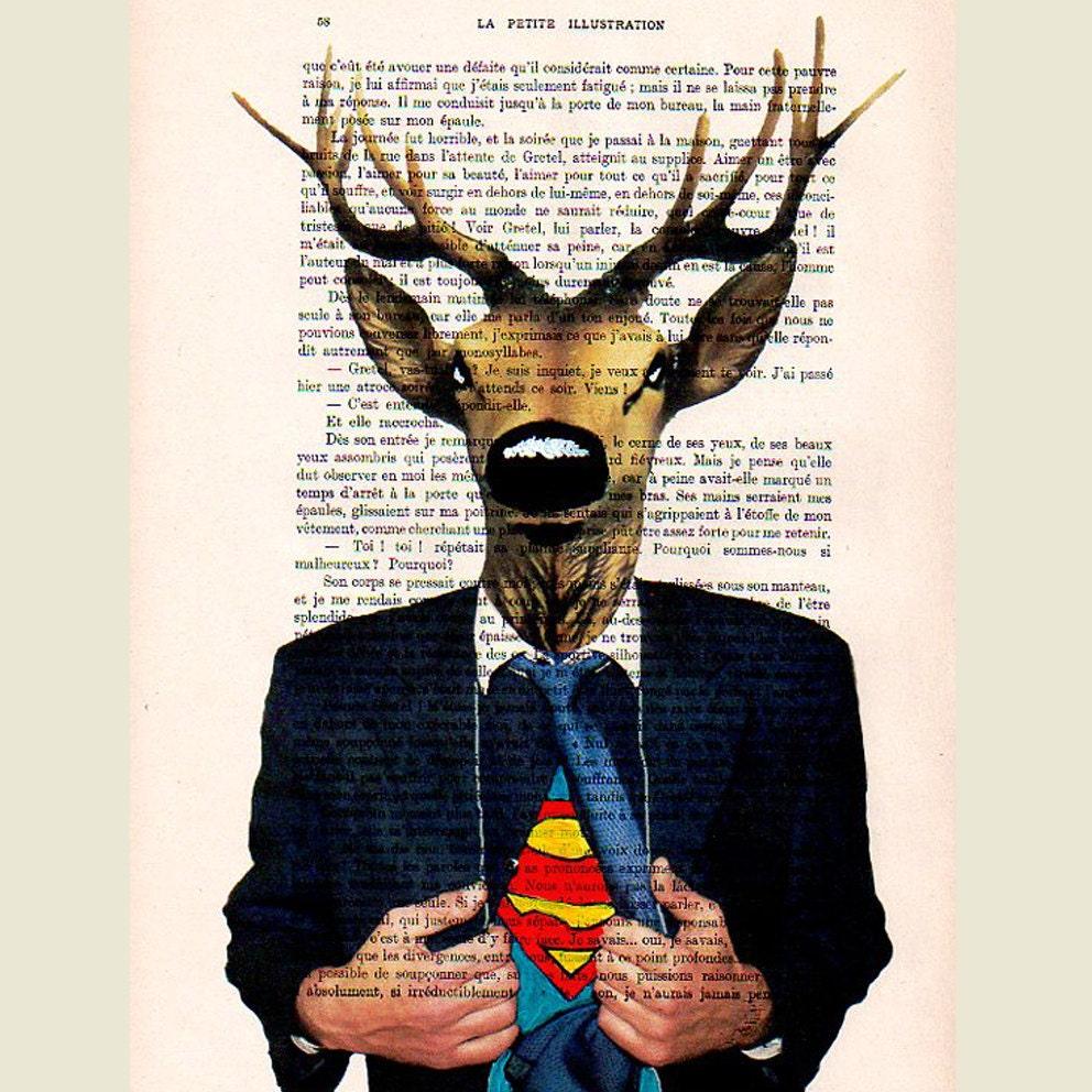 """Superdeer, оригинальные произведения искусства ручной росписью Смещаная 'La Petit Иллюстрация """"1920 Parisien Magazine"""
