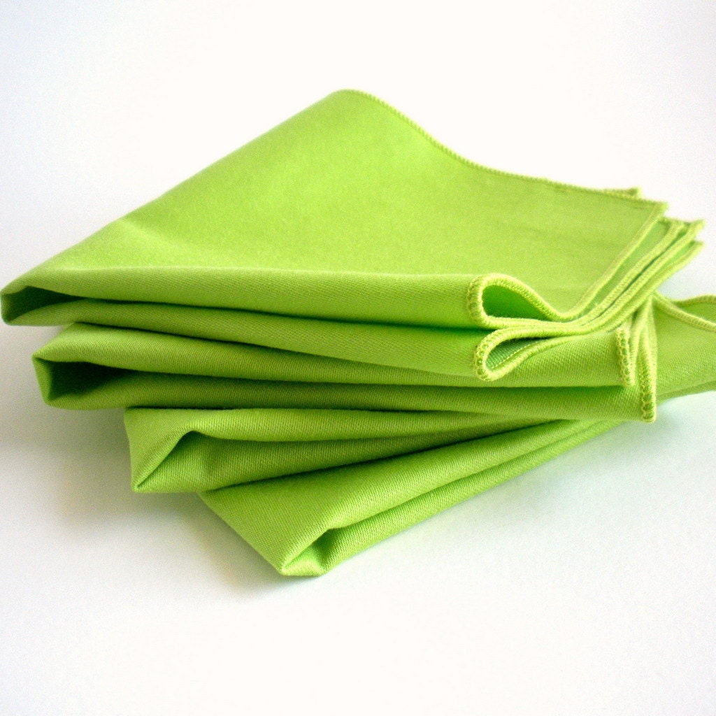 Organic Cotton Napkins - Everyday Napkins - Lightweight, Washable, Reusable - Set of Four - Lime Green - OrganiLuxe