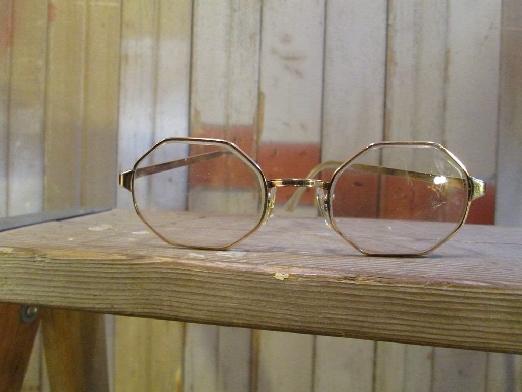 Gold Wire Frame Glasses : 60s Vintage Wire Frame Eyeglasses Octagon gold by ...