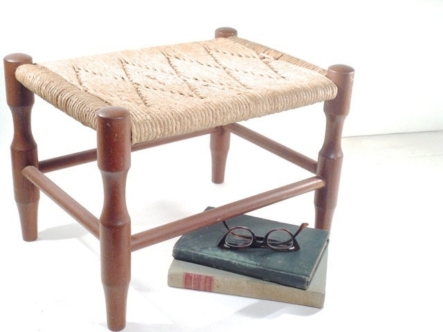 Vintage Woven Rush Footstool Wood Frame Stool By Perfectpatina