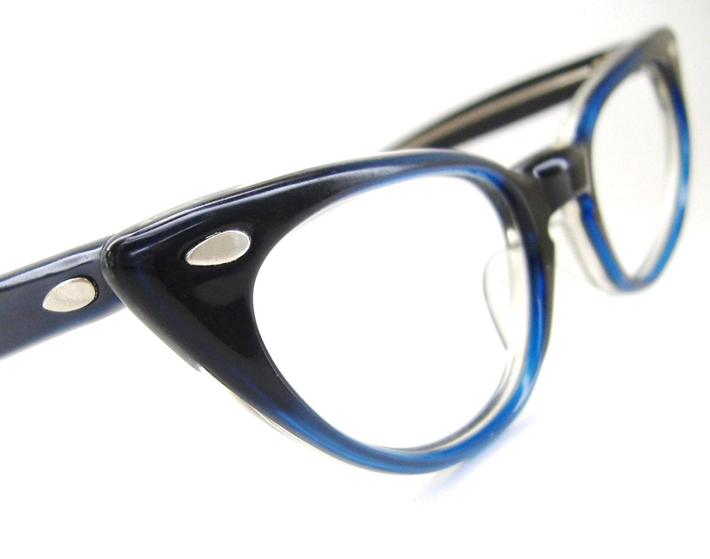Vintage 50s Blue Cat Eye Eyeglasses Frame by Vintage50sEyewear