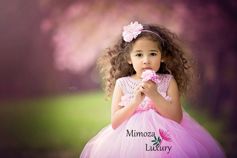 Baby Pink Flower girl dress blush pink tutu dress princess dress blush powder pink crochet top tulle dress hand knit tutu dress in pink