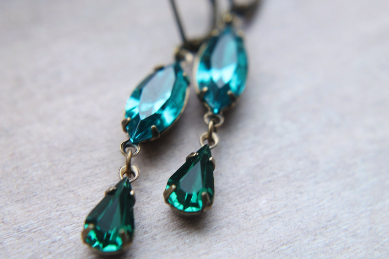 Long Swarovski Earrings - Teal Emerald Estate Heirloom Rhinestone Crystal Handmade Jewelry Gifts for Her.