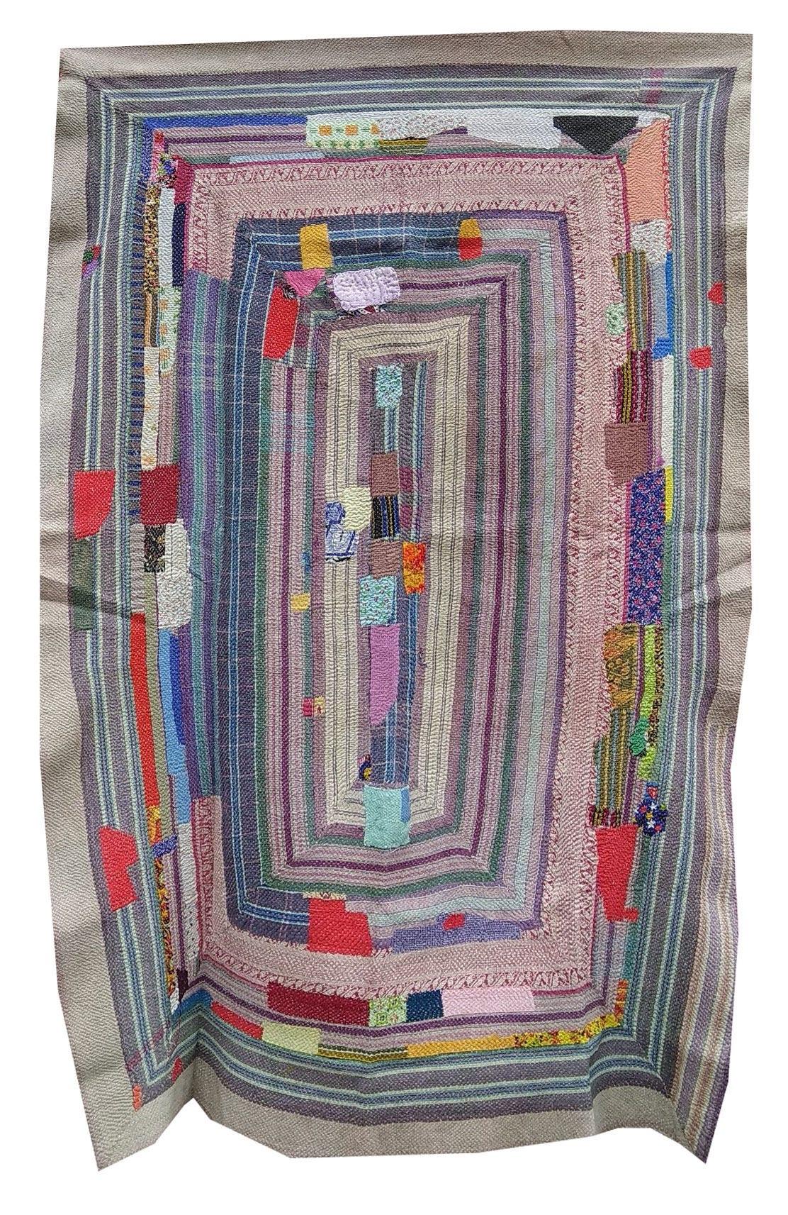 Vintage Kantha Embroidery GREY Reversible Quilt Kantha Bedspread Indian Blanket Kantha Throw Coverlet Decorative Throw
