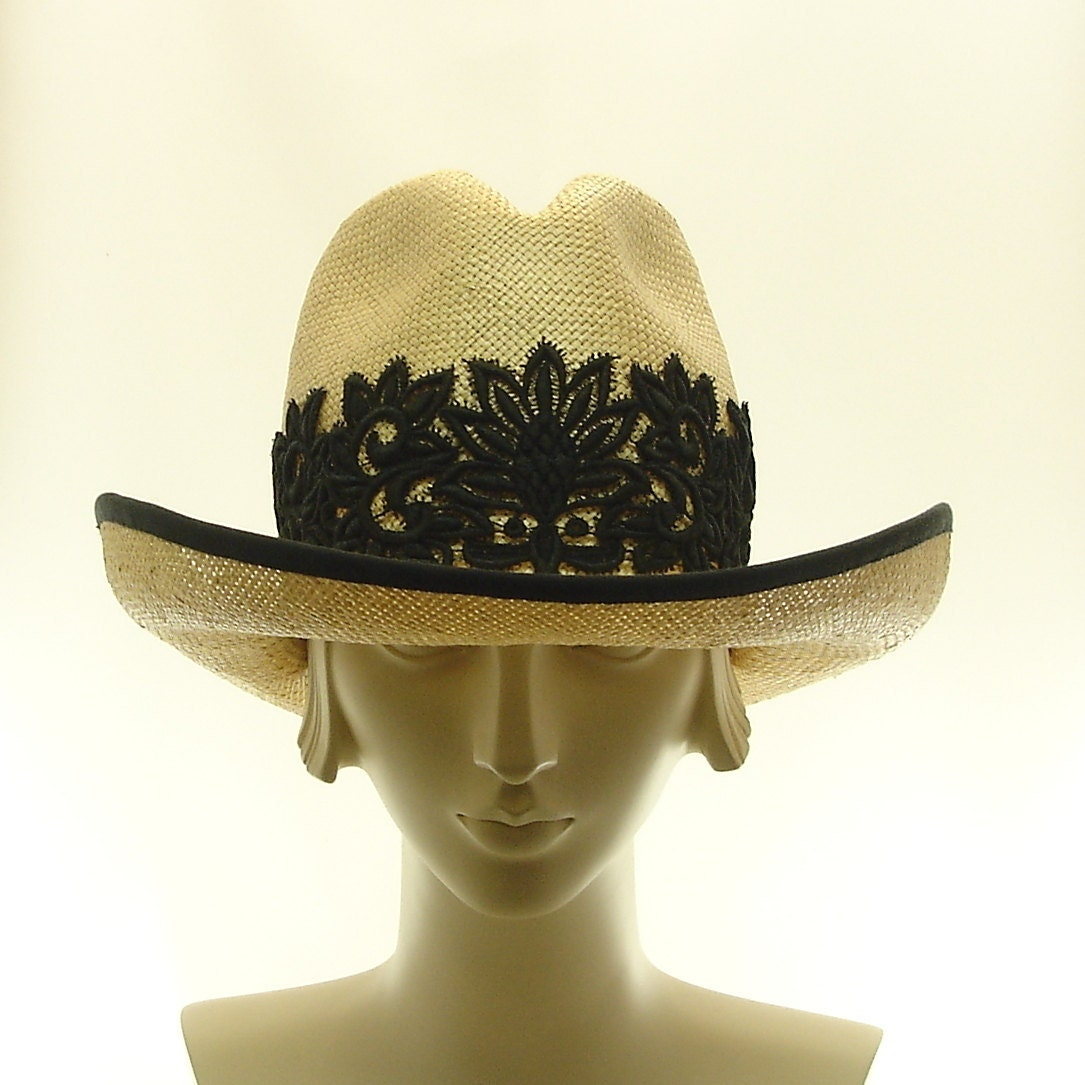 Fedora Hat for Women - Natural Straw Hat - Handmade Cowboy Hat - Black Lace