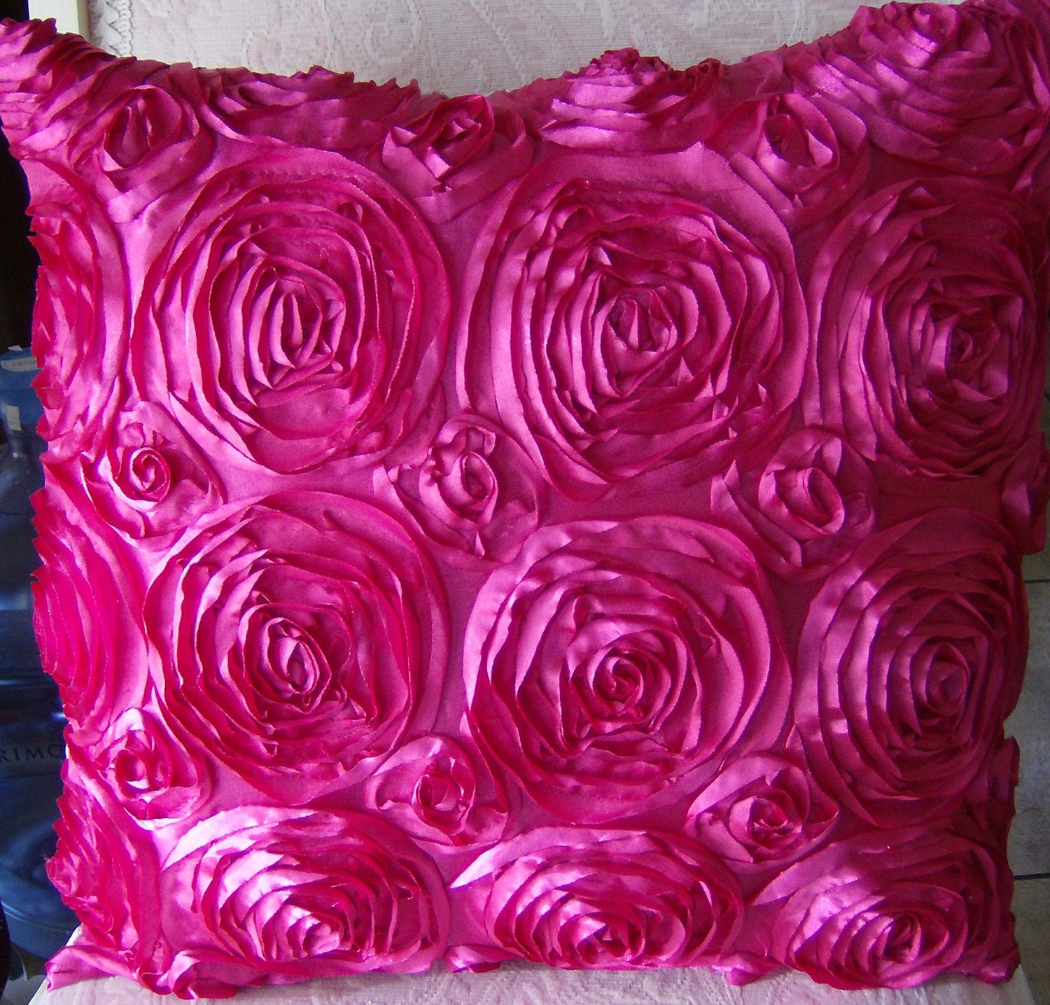 Hot Pink Satin Roses throw pillow Shabby chic by abrushofwings