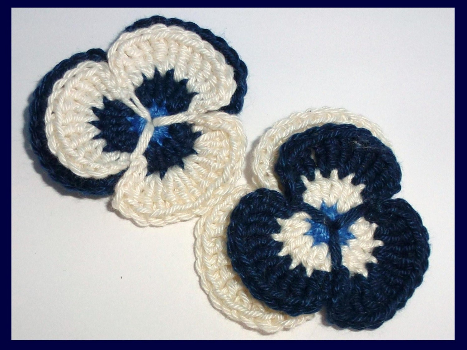 Crochet applique, 2 crochet pansies, cards, scrapbooks, appliques and embellishments