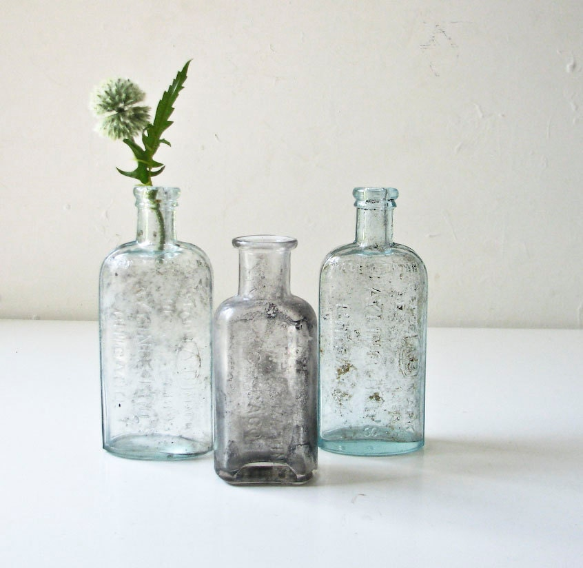 3 Vintage Aqua Medicine Glass Bottles - Ayling Bros Chicago - BeeJayKay