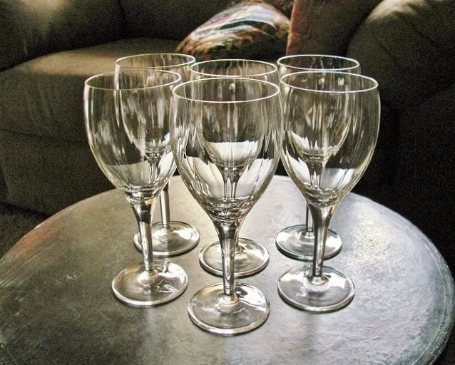Vintage Crystal Optic Ribbed Wine Glasses By Stylishlight