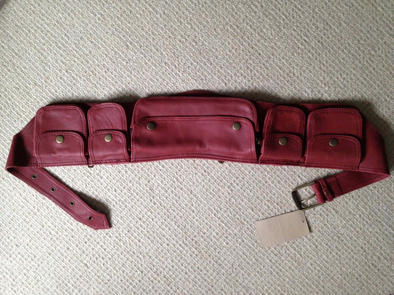 maroon leather utility belt pocket belt by