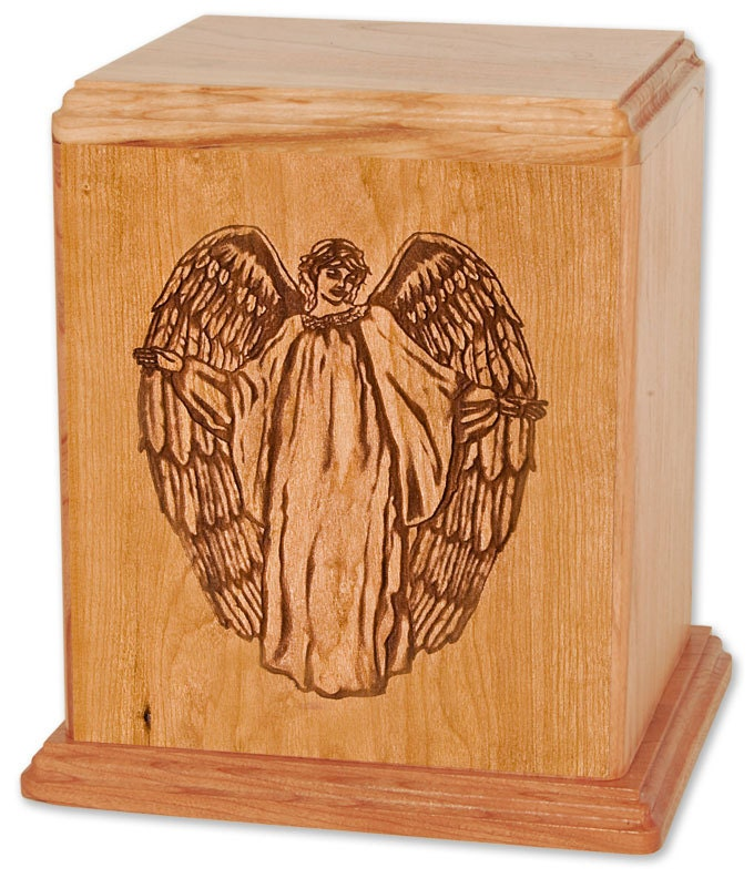 Cherry Angle Wood Cremation Urn