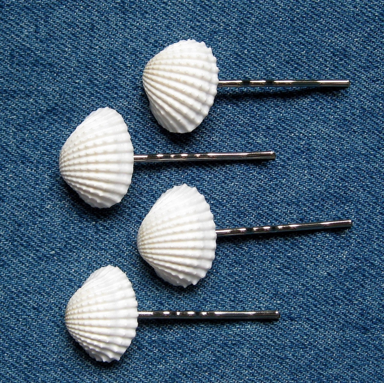 Shell заколки для волос - Seashell заколки для свадьбы берега или Пром - набор из 4