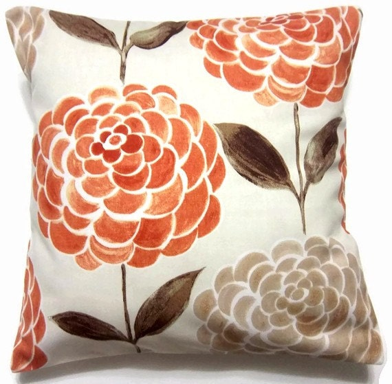 Decorative Pillow Placement : Two Orange Tangerine Brown Taupe Pillow by LynnesThisandThat